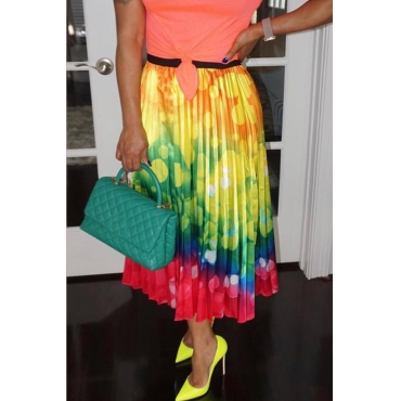 Lovely Stylish Printed Yellow Ankle Length Skirt