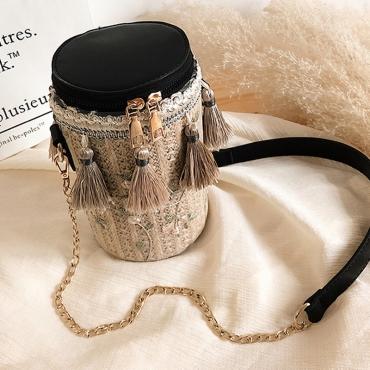 Lovely Casual Tassel Design Black Crossbody Bag