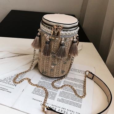 Lovely Casual Tassel Design Beige Crossbody Bag