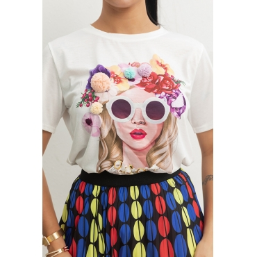 Lovely Casual Cartoon Printed White T-shirt