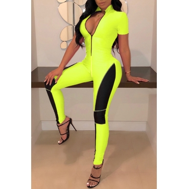 Lovely Casual Patchwork Zipper Design Green One-piece Jumpsuit(With Elastic)