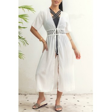 Lovely Stylish V Neck Hollow-out White Cover-up