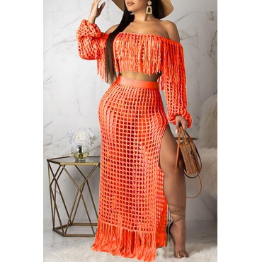 Lovely Sexy Hollow-out Tassel Design Orange Two-piece Skirt Set(Without Lining)