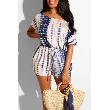 Lovely Casual Printed Lace-up White One-piece Romper