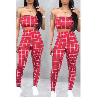 Lovely Women's Off The Shoulder Plaid Red Two-piece Pants Set