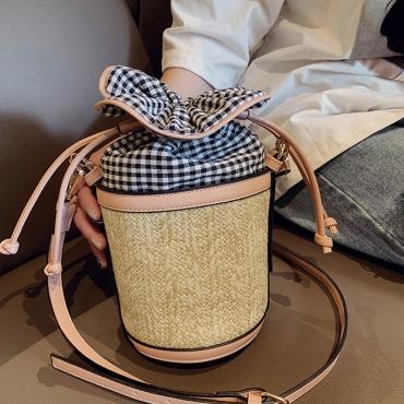 Lovely Casual Weaving Design Plaid Light Pink Crossbody Bag