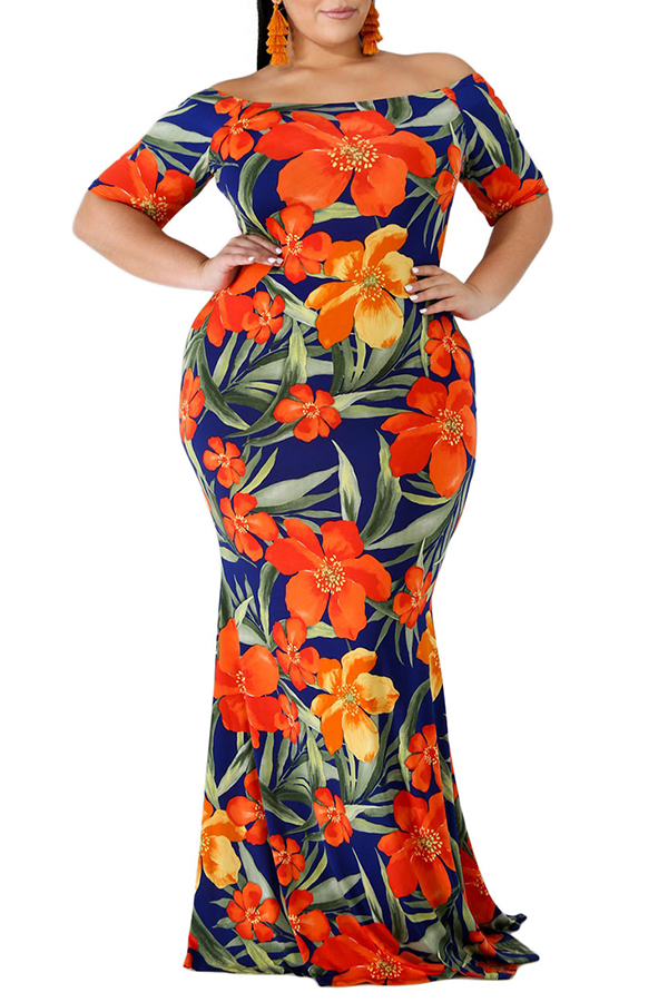 Lovely Bohemian Off The Shoulder Floral Printed Red Floor Length Dress