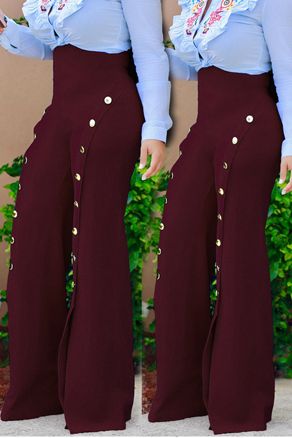 Lovely Stylish High Elastic Buttons Design Wine Red Pants