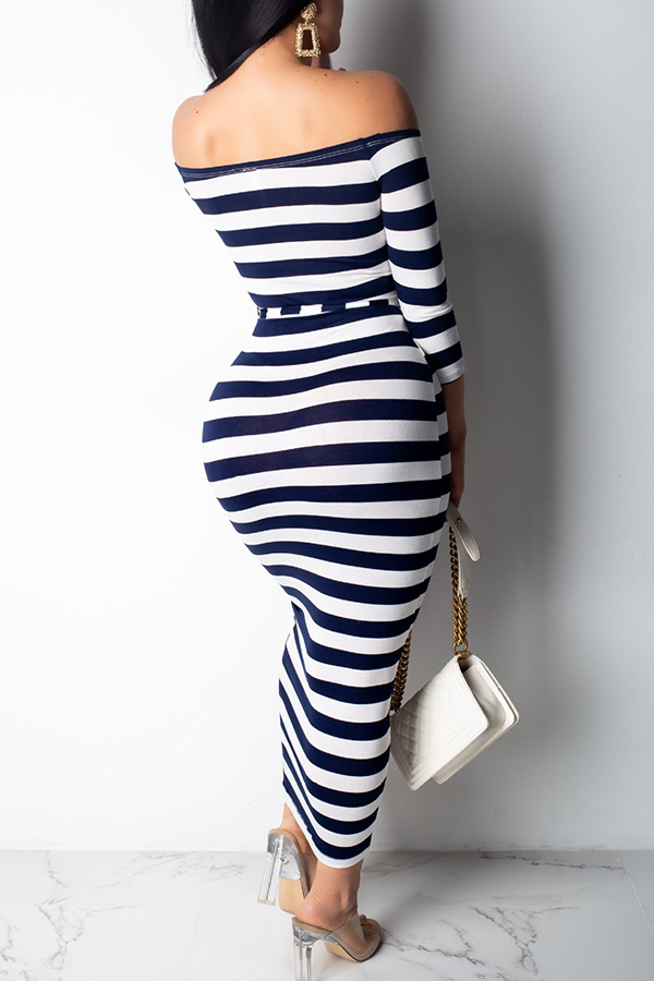 Lovely Casual Off The Shoulder Striped Dark Blue Ankle Length Dress