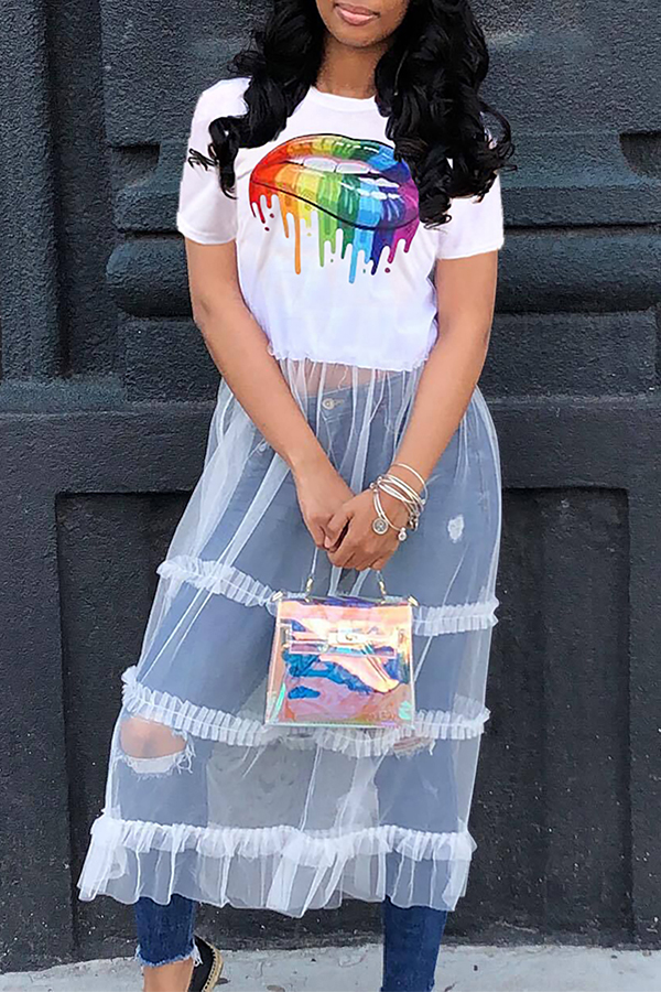 Lovely Casual Lip Printed Patchwork White T-shirt