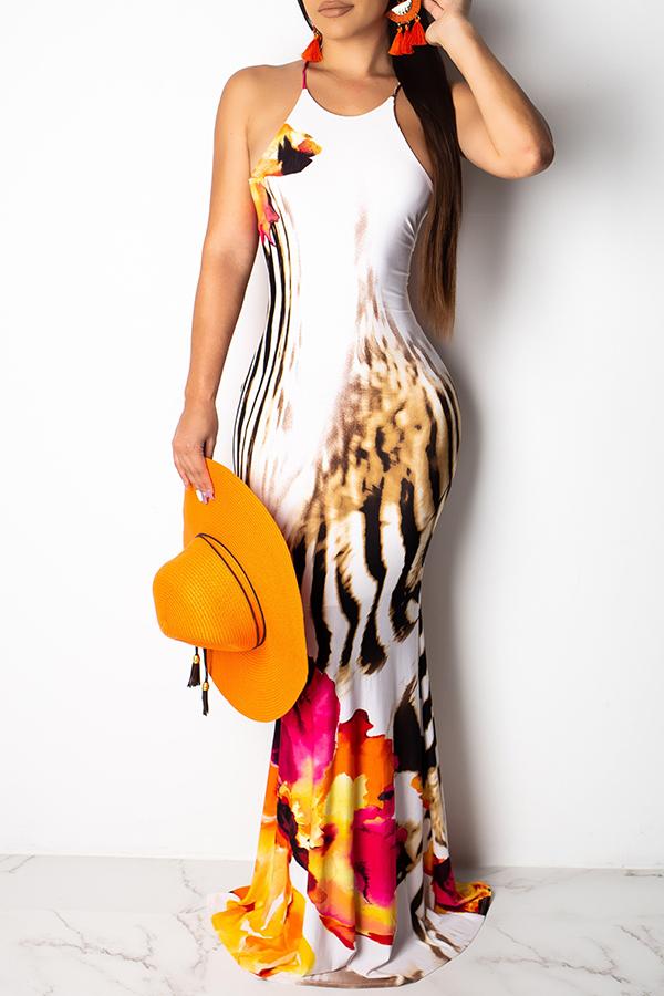 Lovely Sexy Halter Neck Printed Backless White Floor Length Dress