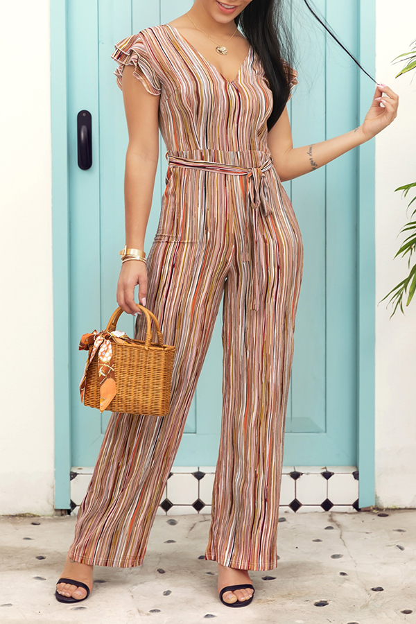 Lovely Stylish V Neck Striped Printed One-piece Jumpsuit