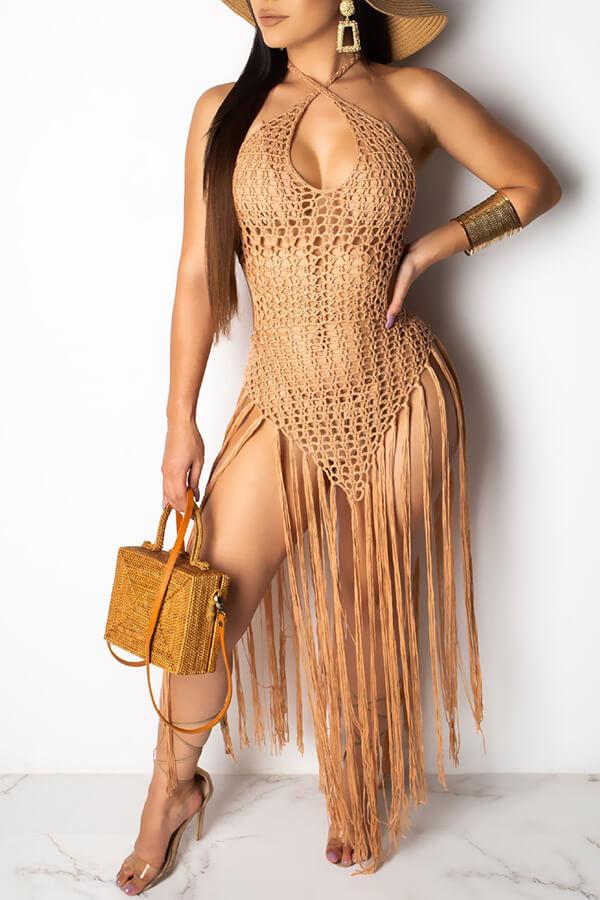 Lovely Sexy Hollow-out Tassel Design Khaki Swimdresses