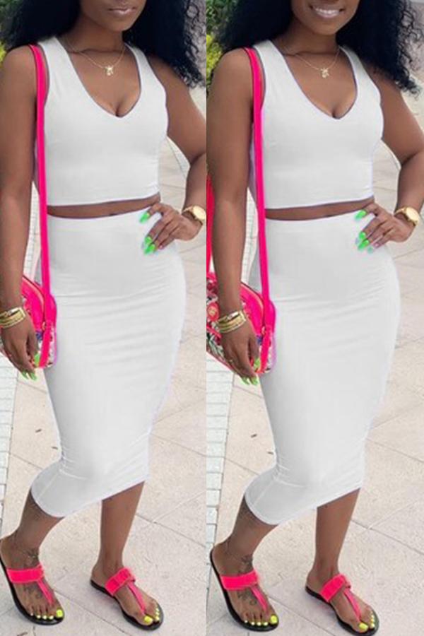 Lovely Casual V Neck Sleeveless White Two-piece Skirt Set