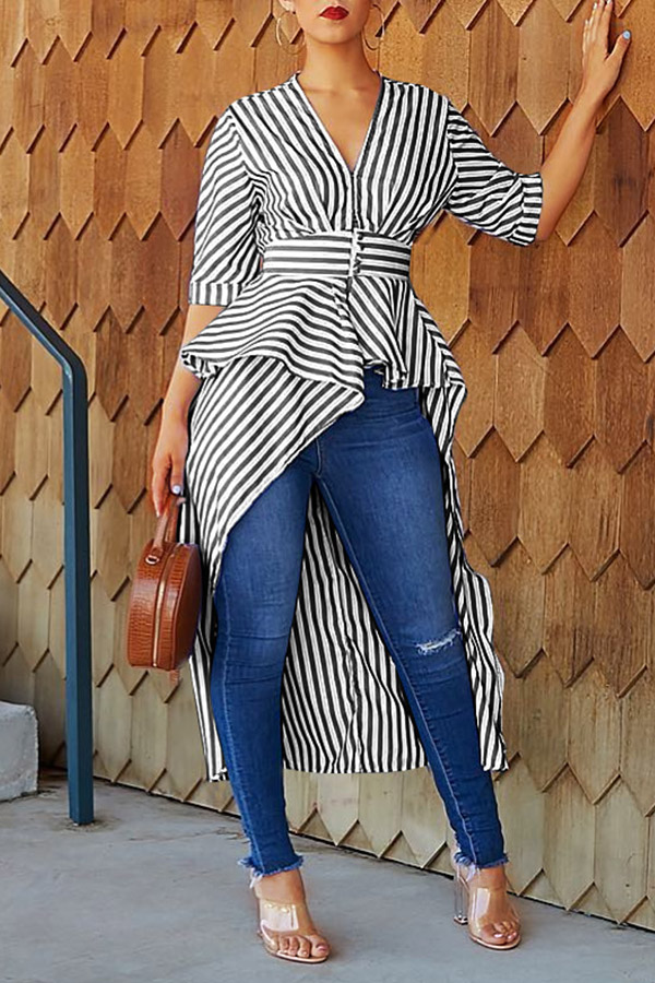 Lovely Casual Striped Asymmetrical Black Blouse