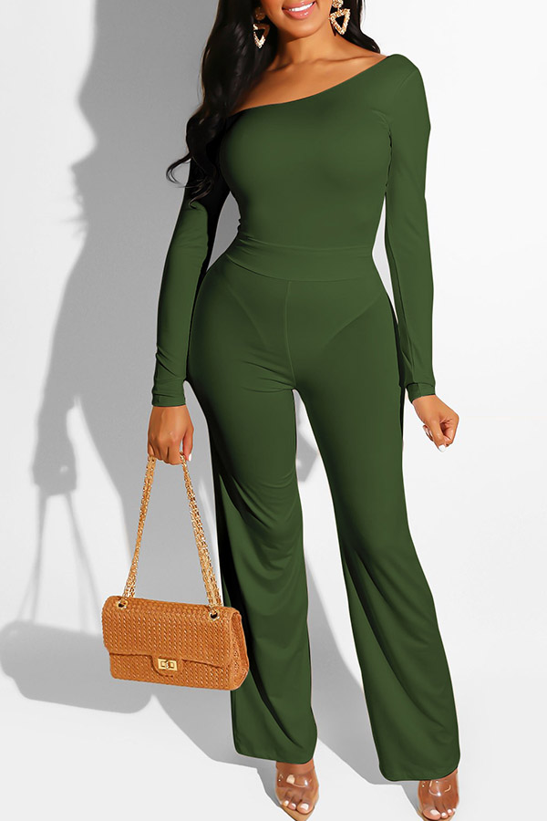 Lovely Casual One Shoulder Army Green One-piece Jumpsuit