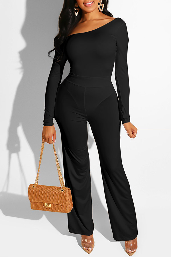 Lovely Casual One Shoulder Black One-piece Jumpsuit
