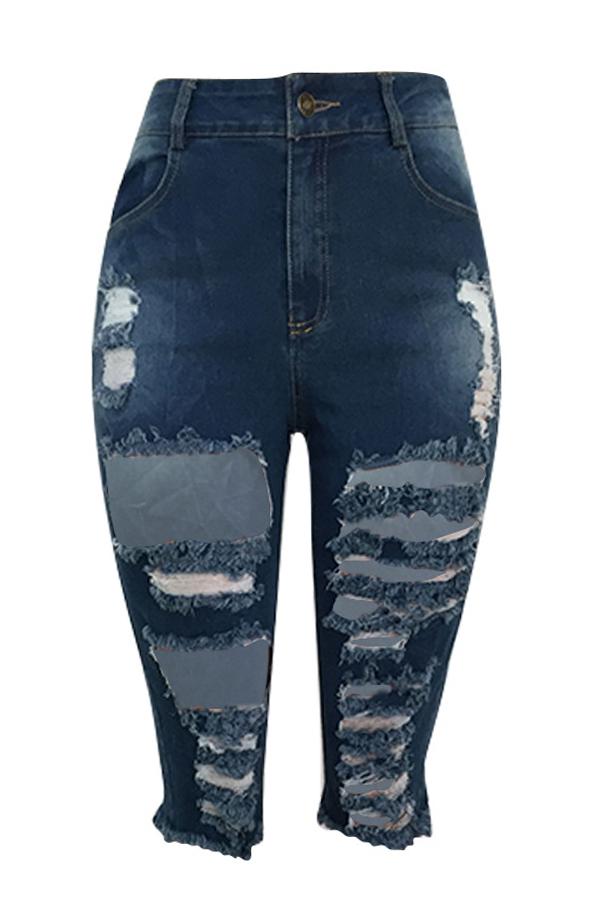 Lovely Casual Broken Holes  Blue Shorts