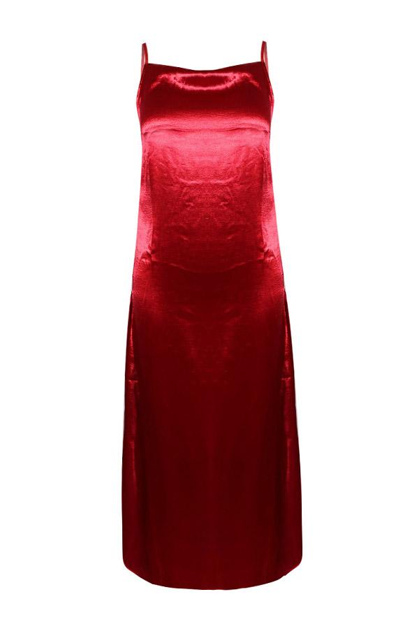 Lovely Sexy Spaghetti Strap Side Split Red Mid Calf Dress