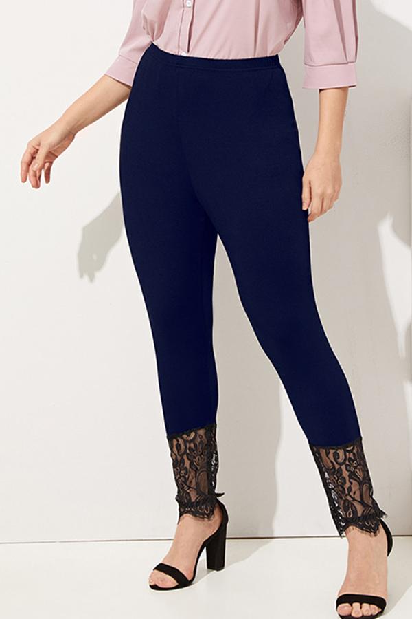 Lovely Stylish Lace Patchwork Black Leggings