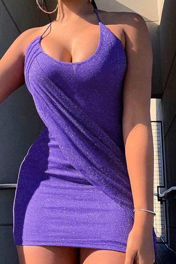 Lovely Sexy Halter Neck Purple Mini Dress