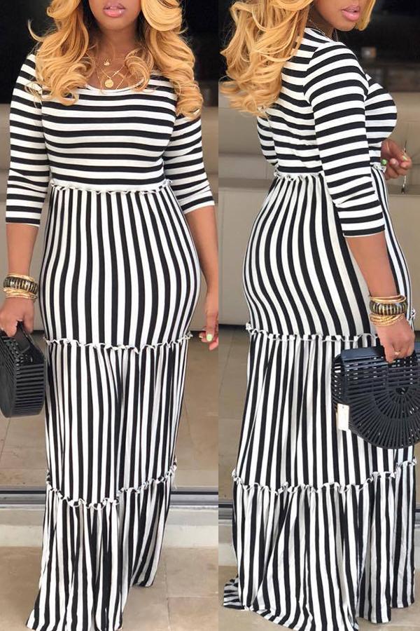 Lovely Casual O Neck Striped White Floor Length Dress