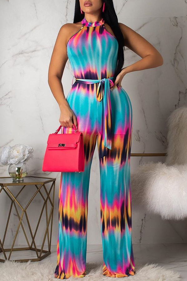 Lovely Stylish Halter Neck Printed Blue One-piece Jumpsuit