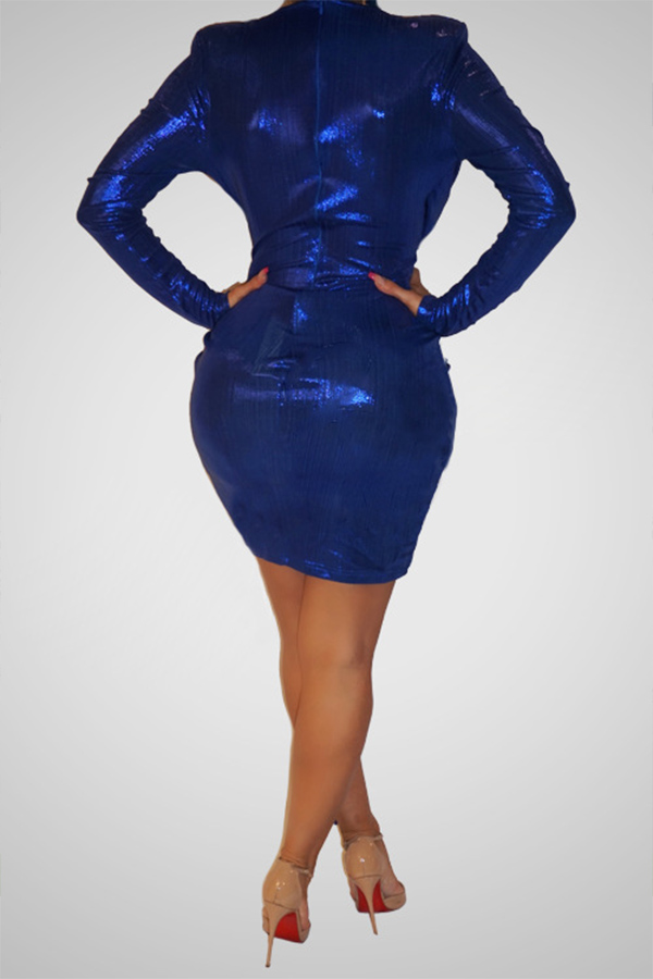 Lovely Trendy Asymmetrical Blue Mini Dress
