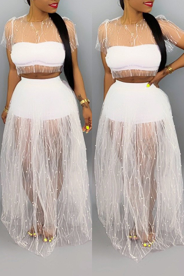 Lovely Sexy See-through Gauze Patchwork White Two-piece Skirt Set