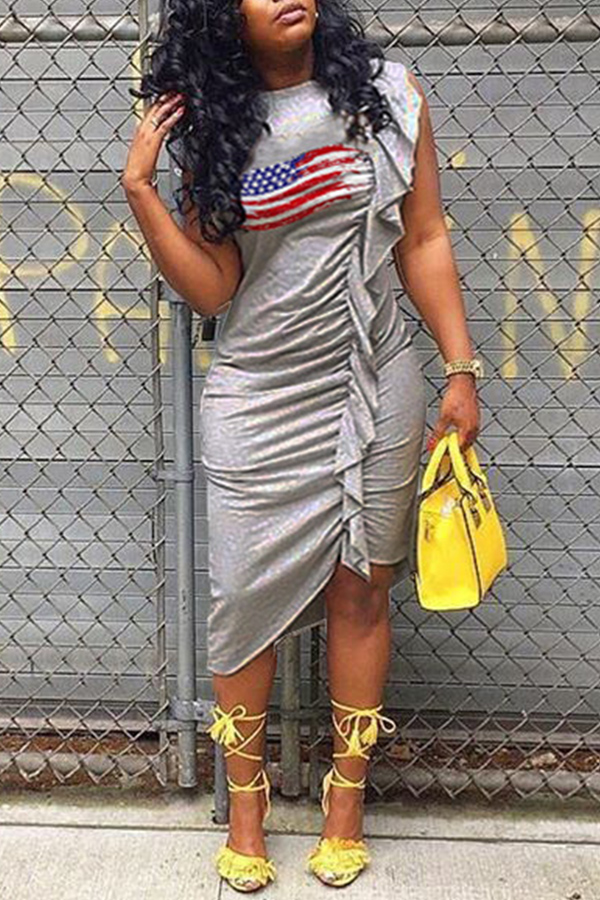 Lovely Independence Day Casual Printed Grey Knee Length Dress