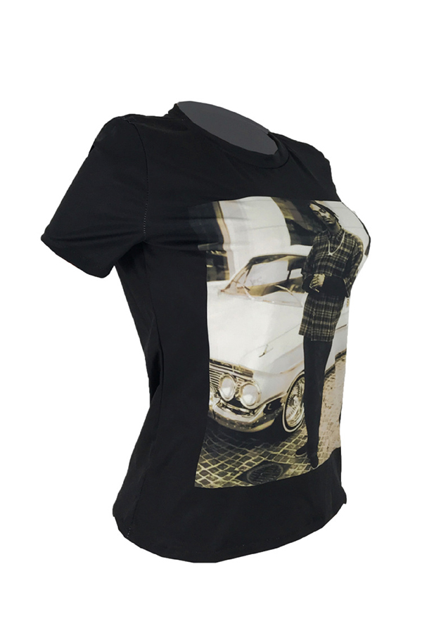 Lovely Chic Portrait Printed Black T-shirt