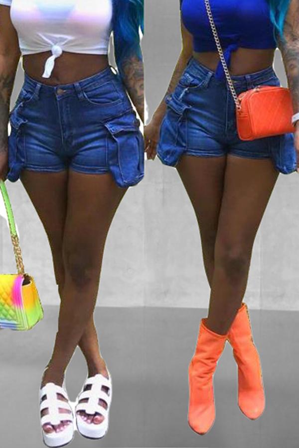 Lovely Chic Pockets Design Blue Shorts