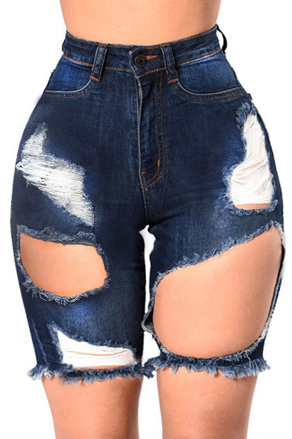 Lovely Leisure Broken Holes Deep Blue Denim Shorts