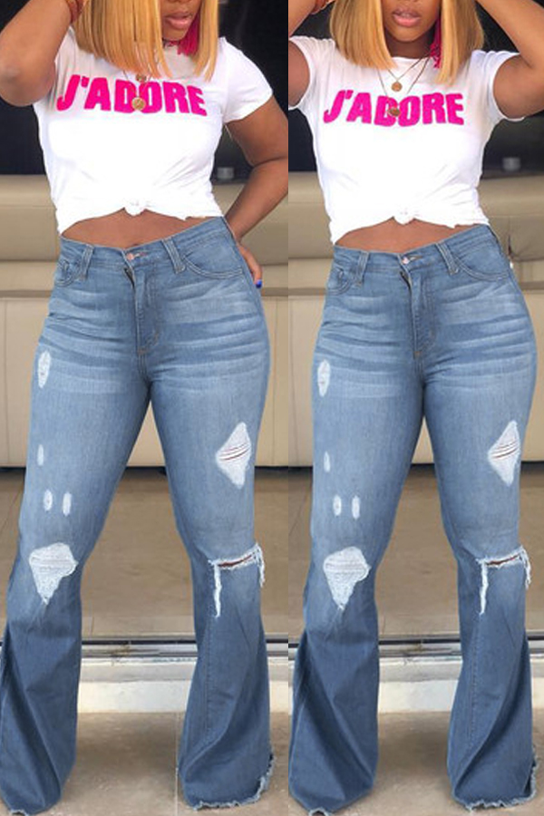 Lovely Casual Trumpet-shaped Broken Holes Baby Blue Jeans (With High-elastic)
