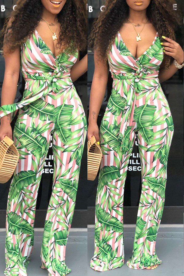 Lovely Casual Striped Printed Green One-piece Jumpsuit