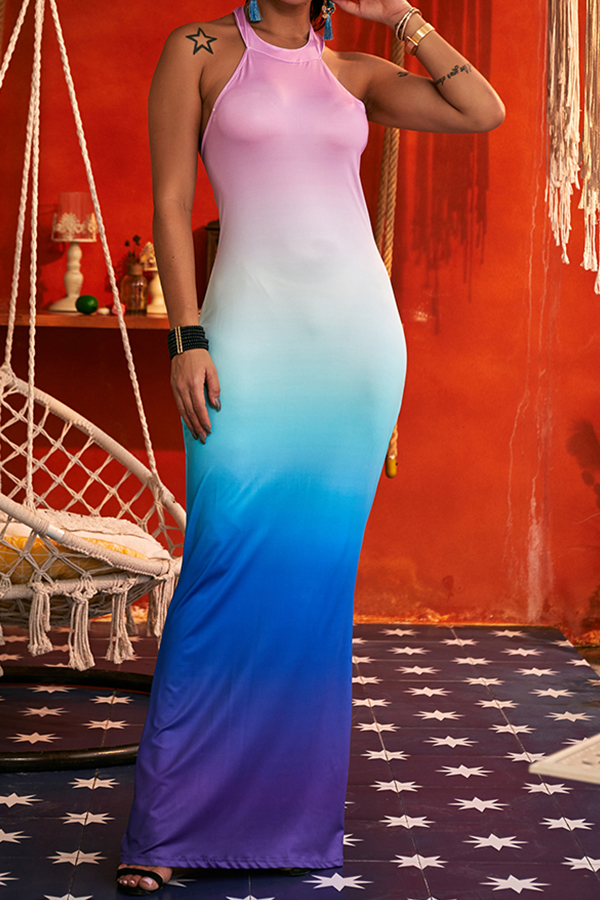 Lovely Casual Gradual-change Multicolor  Ankle Length  Dress