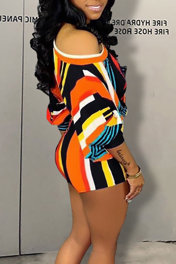 Lovely Trendy Striped White Two-piece Shorts Set