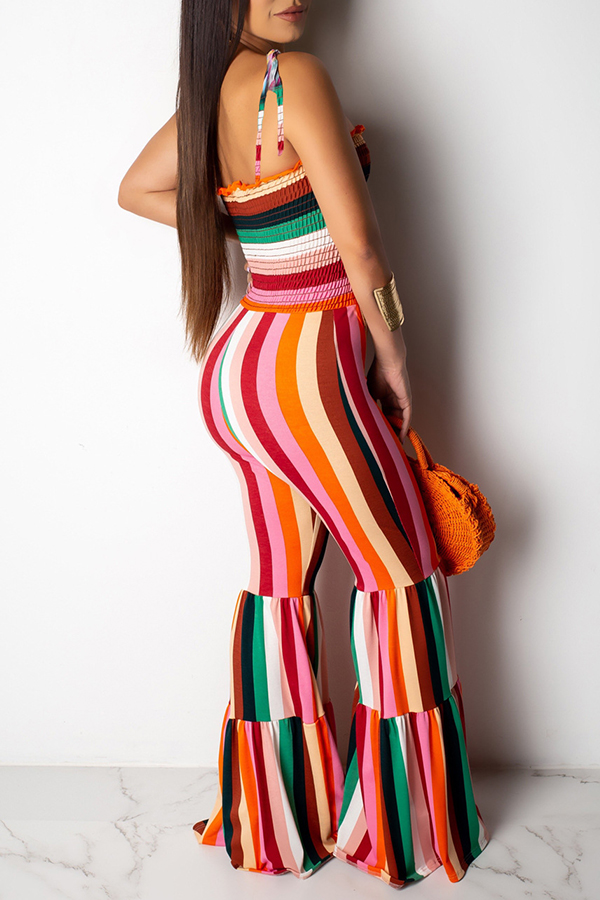 Lovely Stylish Off The Shoulder Striped Printed Orange One-piece Jumpsuit