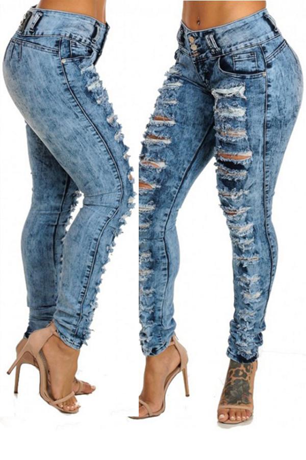 Lovely Stylish Broken Holes Royalblue Jeans