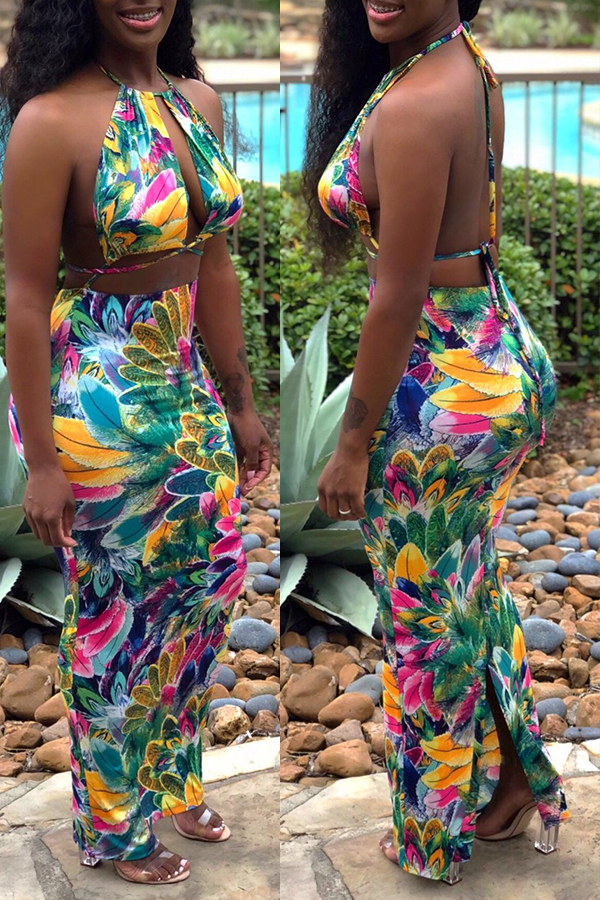 Lovely Bohemian Halter Neck Printed Hollow-out Green Two-piece Skirt Set