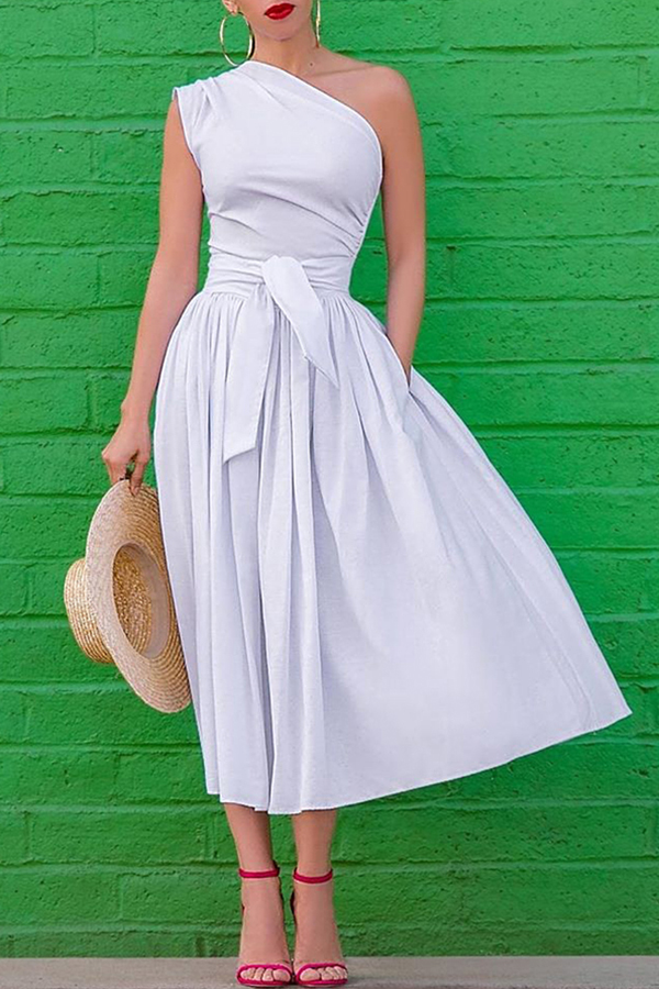 Lovely Work One Shoulder White Mid Calf A Line Dress