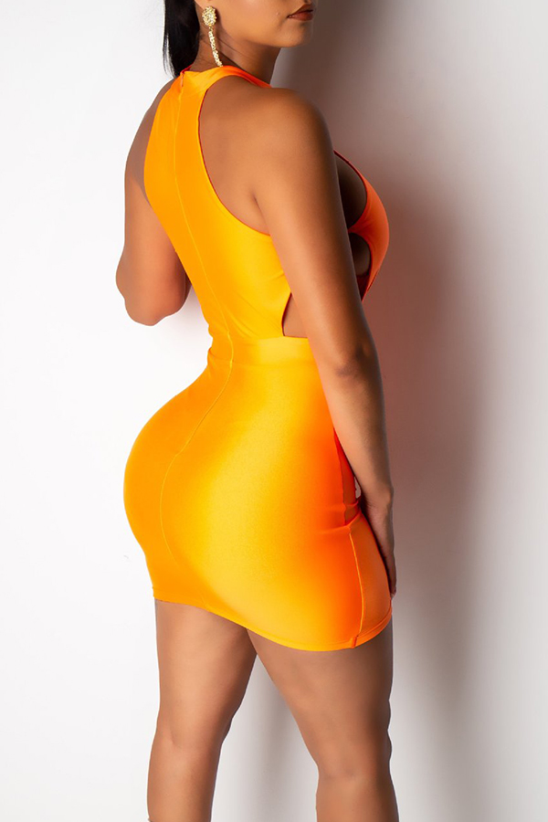 Lovely Sexy O Neck Hollow-out Orange Mini A Line Dress