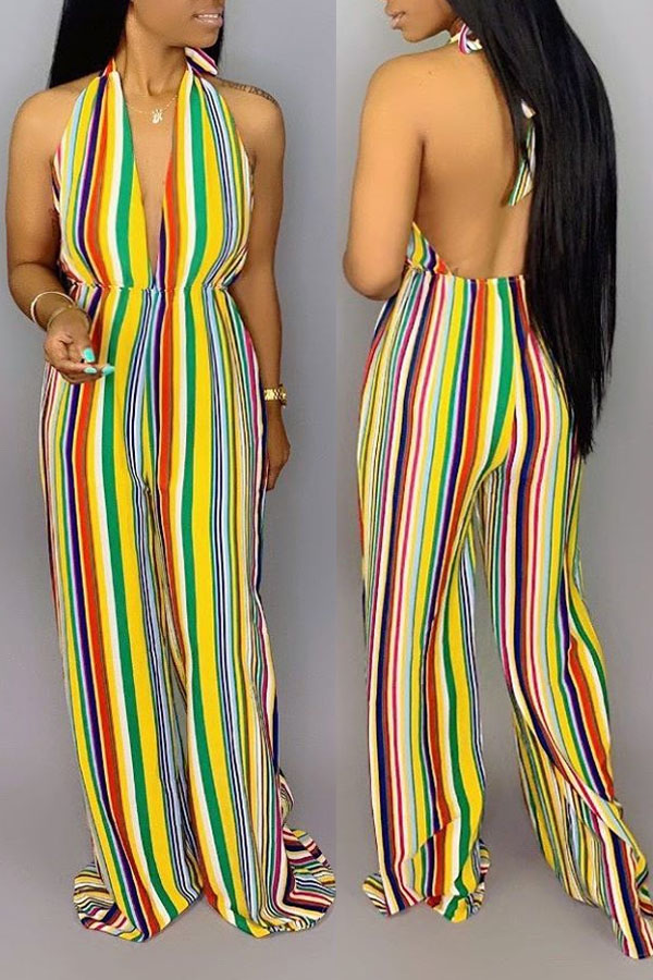 Lovely Trendy Striped Backless One-piece Jumpsuit