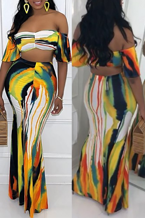Lovely Casual Off The Shoulder Printed Yellow Two-piece Skirt Set