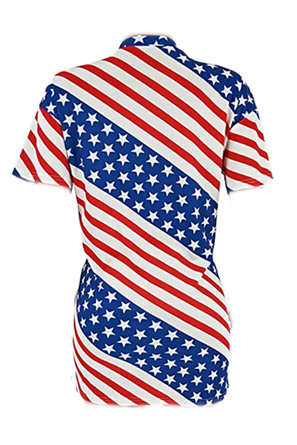 Lovely Independence Day Casual O Neck Printed Multicolor Mini Dress