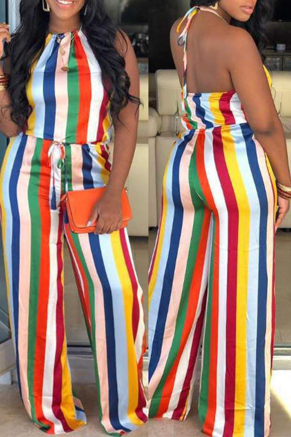 Lovely Sexy Halter Neck Striped Printed Multicolor One-piece Jumpsuit