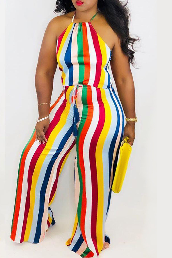 Lovely Sexy Halter Neck Striped Printed Multicolor