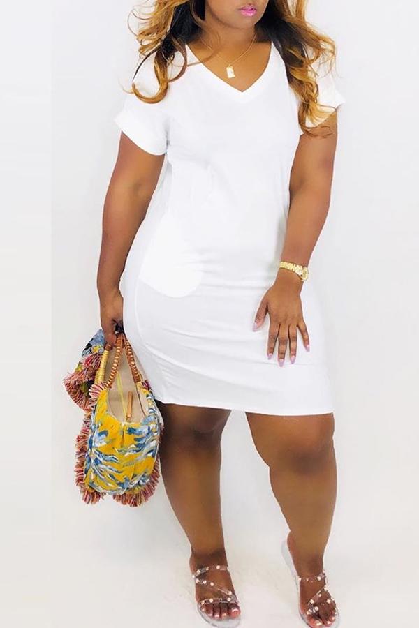 Lovely Casual V Neck White Mini A Line Dress