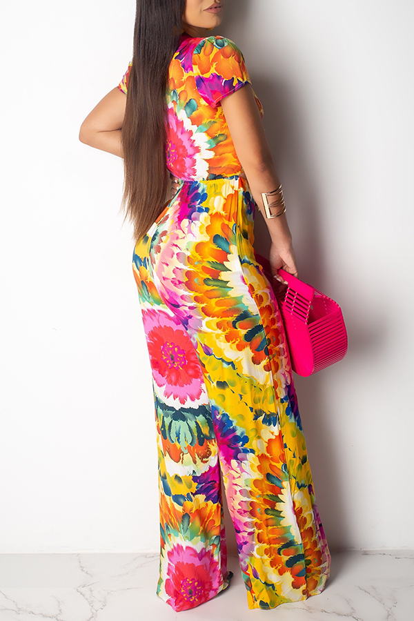 Lovely Bohemian Floral Printed Red One-piece Jumpsuit