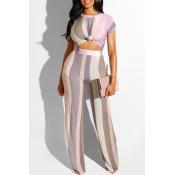 Lovely Stylish Striped Light Purple Two-piece Pant